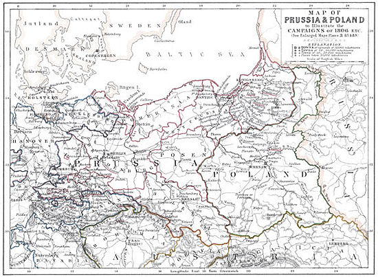 Map Of Battles Of Prussia And Poland In 1806 Alison S History Of